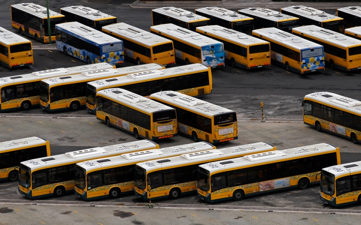Lisbon public buses are seen parked in Pontinha station