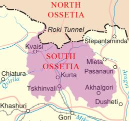 Território disputado entre a Rússia e a Geórgia. No mapa é possível ver a separação dos dois países e o Túnel de Roki
